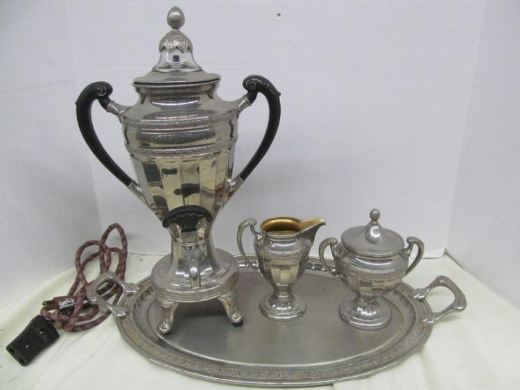 VINTAGE SILVER-PLATE ELECTRIC SAMOVAR ON TRAY w/CREAM & SUGAR