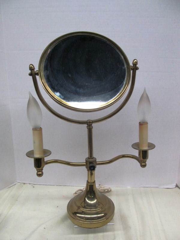 vintage vanity makeup mirror w electric candle lights on. Black Bedroom Furniture Sets. Home Design Ideas