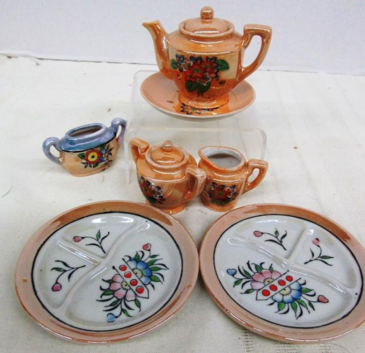 OCCUPIED JAPAN CHILDS TEA SET PIECES / DIVIDED PLATES ~ ETC ~ Note: spout chipped on teapot, see photos for any other flaws
