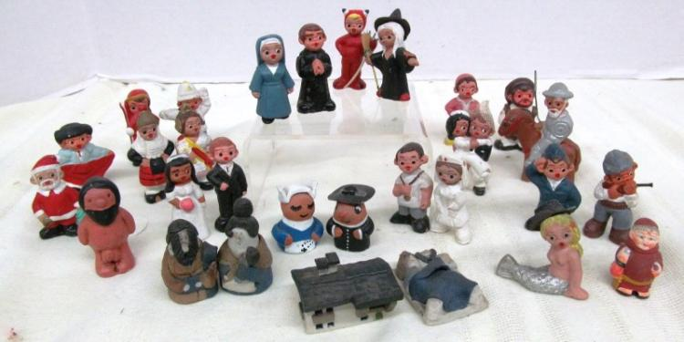 LARGE LOT (Approx. 29) LITTLE CLAY FIGURES ~ MANY GENRE'S ~ CUTE