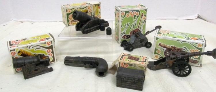 LOT OF 6 VINTAGE METAL FIGURAL PENCIL SHARPENERS ~ GUNS ~ CANNONS ~ WEAPONRY ~ ETC ~ MOST IN ORIGINAL BOXES