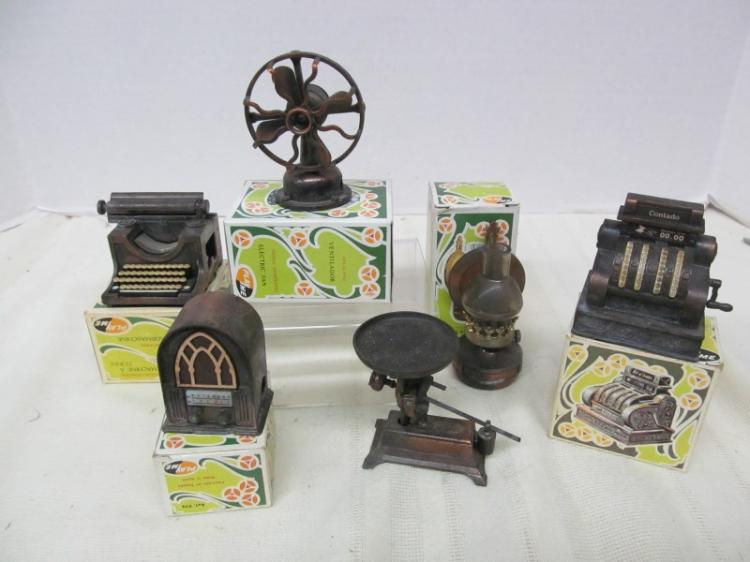 LOT OF 6 VINTAGE METAL FIGURAL PENCIL SHARPENERS ~ OFFICE MACHINES ~ FAN ~ SCALE ~ ETC ~ MOST IN ORIGINAL BOXES
