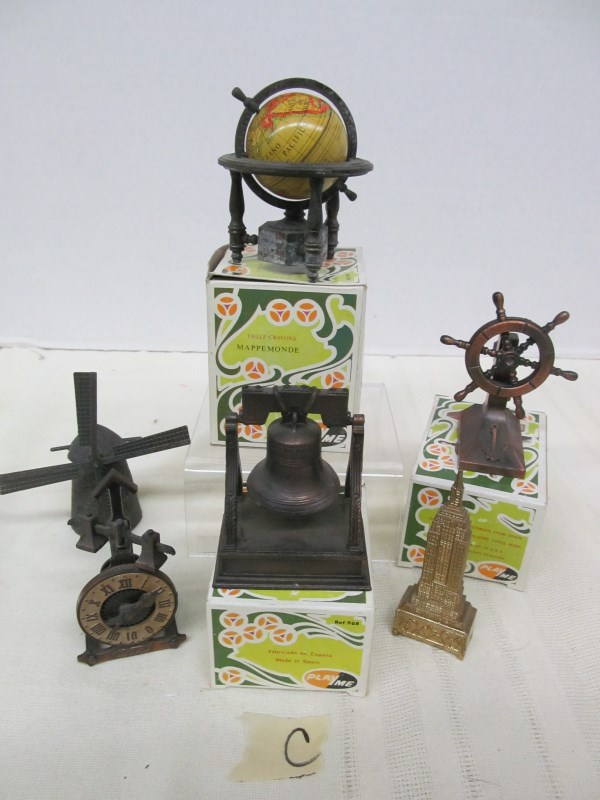 LOT OF 6 VINTAGE METAL FIGURAL PENCIL SHARPENERS ~WORLD GLOBE ~ LIBERTY BELL ~ WINDMILL ~ SHIP'S STEERING WHEEL ~ ETC ~ MOST IN ORIGINAL BOXES