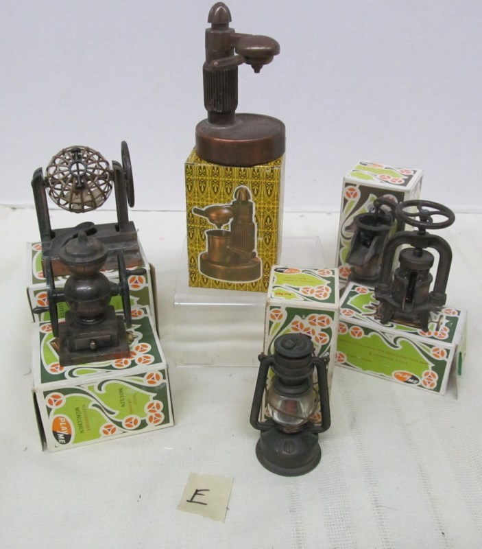 LOT OF 6 VINTAGE METAL FIGURAL PENCIL SHARPENERS ~ CAPPUCCINO MACHINE ~ LANTERN ~ COFFEE GRINDER ~ WINE PRESS ~ WATER PUMP ~ ETC ~  MOST IN ORIGINAL BOXES