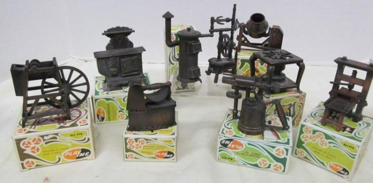 LOT OF 9 VINTAGE METAL FIGURAL PENCIL SHARPENERS ~ IRON ~ HEATER ~ SPINNING WHEEL ~ CONCRETE MIXER ~ TORCH ~ ETC ~ MOST IN ORIGINAL BOXES