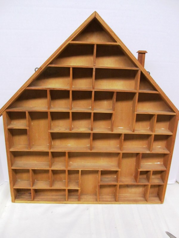 WOOD HOUSE SHAPED WHAT NOT / CURIO WALL UNIT (This unit would be great to put miniature metal figural pencil sharpeners in)