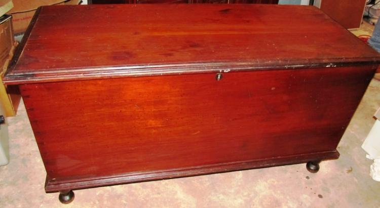 1800'S FITTED CHEST ~ SQUARE NAILS & HANDMADE DOVETAILS