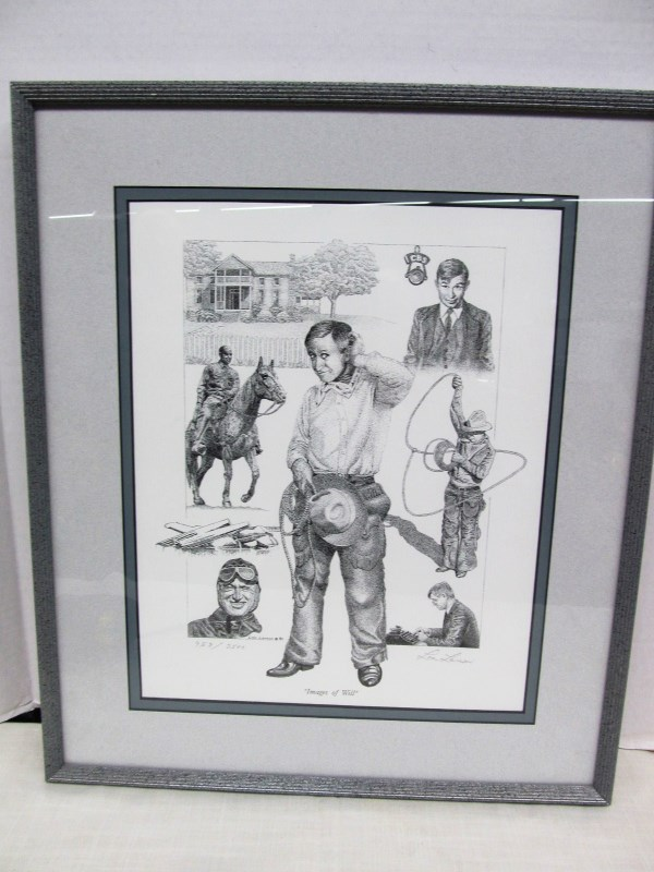 LIMITED EDITION WILL ROGERS FRAMED ART by LON LARSON ~ 958/2500 ~