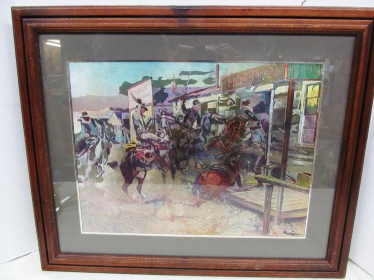 FRAMED & MATTED WESTERN ART by DON RUSSELL