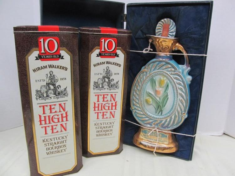 FANCY JIM BEAM WHISKEY DECANTER IN PRESENTATION BOX & 2 TEN HIGH TEN HIRAM WALKERS WHISKEY TINS