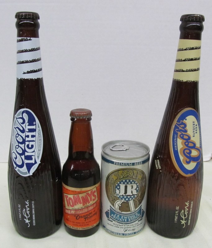 LOT OF 4 VINTAGE BEER CONTAINERS ~ 2 COORS BASEBALL BATS ~ JR PRIVATE STOCK BEER ~ TOMMY'S