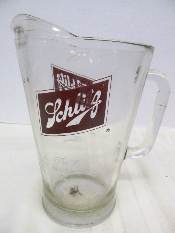 VINTAGE GLASS SCHLITZ BEER PITCHER