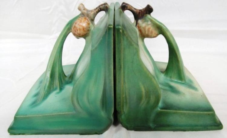 RARE SET OF ORIGINAL ROSEVILLE POTTERY PINE CONE BOOKENDS
