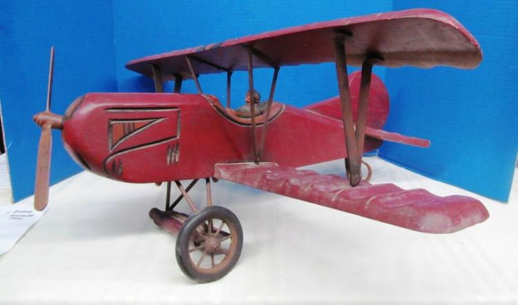 LARGE ANTIQUE WOOD CARVED AIRPLANE ~ Note: missing 2 wheels