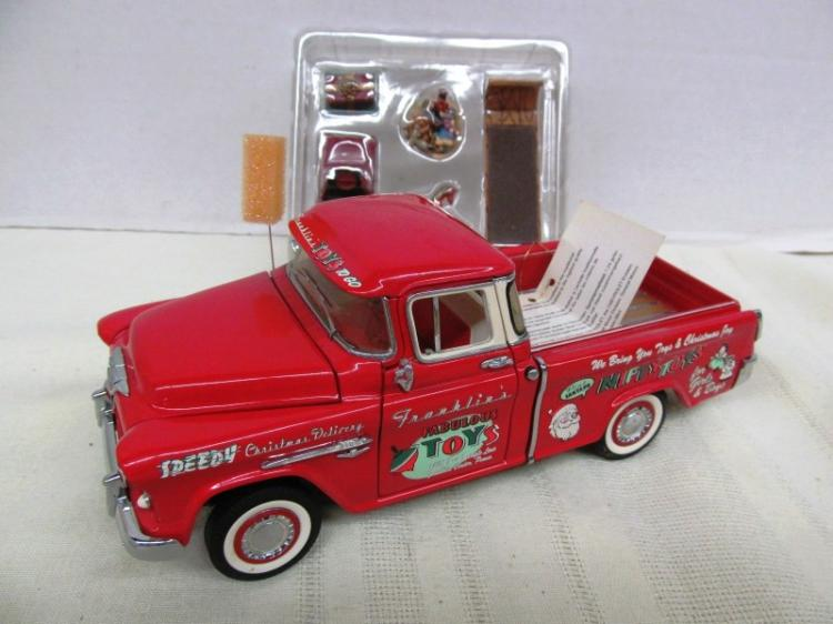 1998 FRANKLIN MINT 1955 RED CHRISTMAS TRUCK