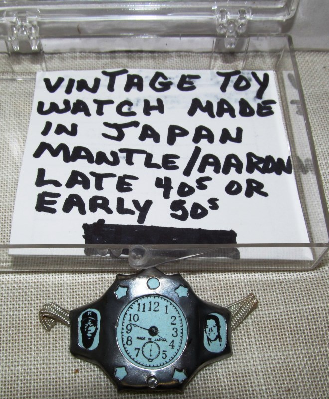 VINTAGE TOY WATCH ~ MADE IN JAPAN ~ MICKEY MANTLE / HANK AARON ~ LATE 40's or 50's