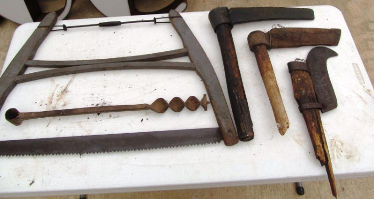 LOT OF 5 ANTIQUE TOOLS ~ 2 LOG SPLITTERS ~ HOOK BLADE ~ BOW SAW ~ DRILL BIT FOR WOOD HANDLE