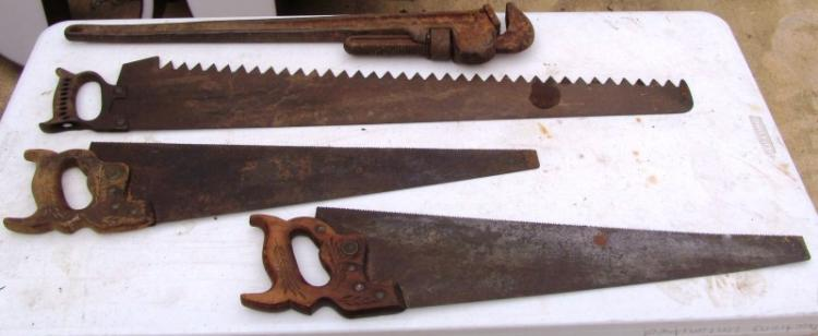 LOT OF 4 ANTIQUE TOOLS ~ PIPE/MONKEY WRENCH ~ 2 WOOD SAWS ~ 1 ICE SAW