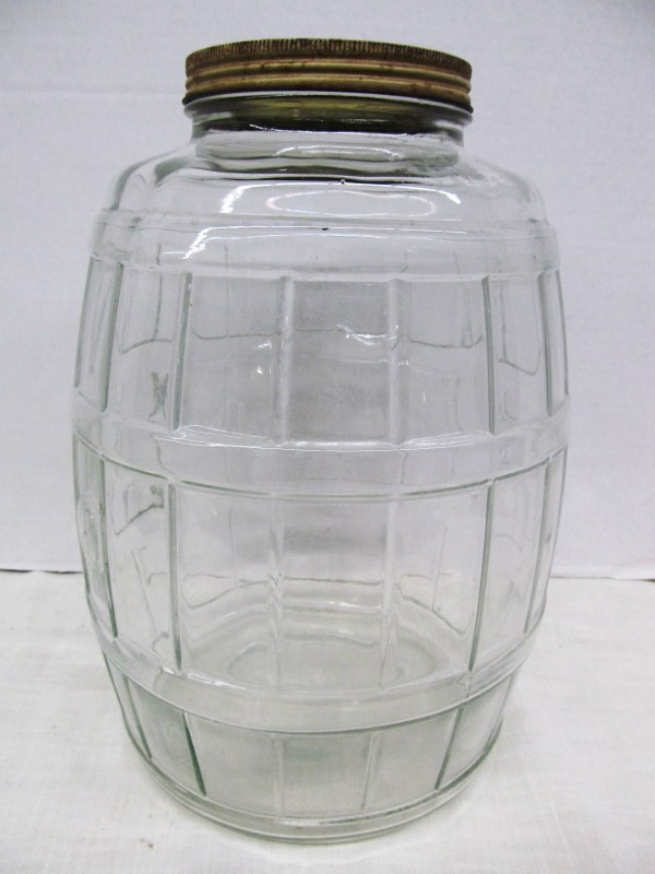 VINTAGE LARGE GLASS PICKLE BARREL JAR 13