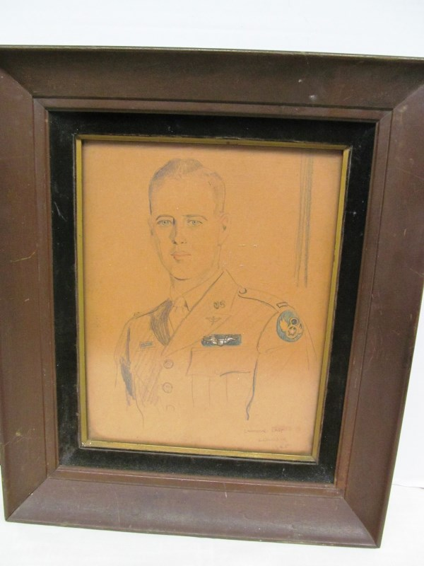 FRAMED SKETCH OF MILITARY MAN by LAWRENCE EAST ~ LONDON ~ SIGNED