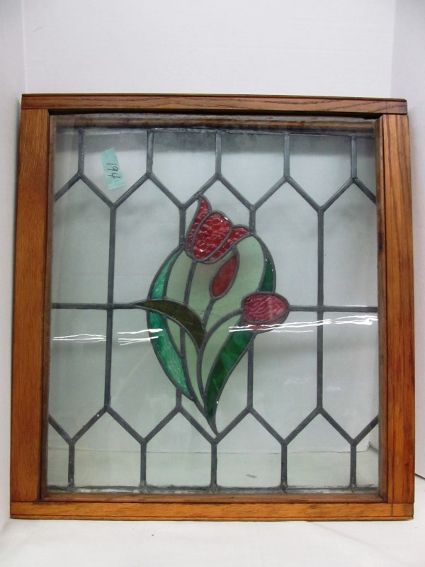 VINTAGE WOOD FRAMED STAINED GLASS WINDOW