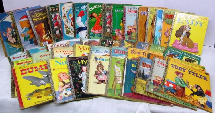 LOT OF 43 VINTAGE CHILDREN'S BOOKS ~ LITTLE GOLDEN BOOKS ~ WALT DISNEY ~ OTHERS