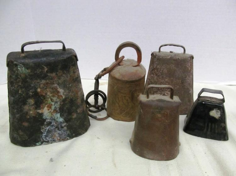 LOT OF 5 VINTAGE BELLS