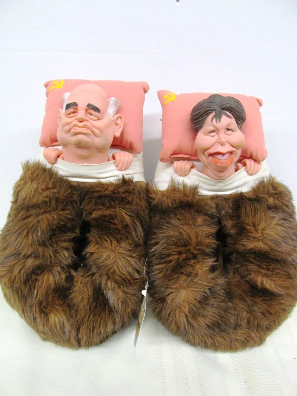 SILLY SLEEPING PARTNERS SLIPPERS ~ GORBACHEV & BRIDE?