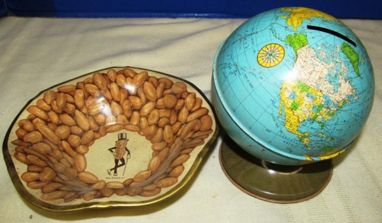 VINTAGE WORLD GLOBE BANK & MR. PEANUT METAL BOWL