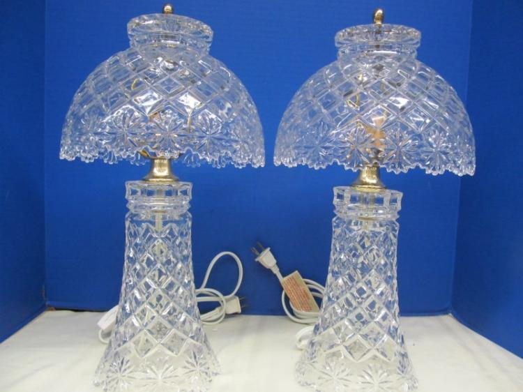 PAIR OF CRYSTAL BEDSIDE LAMPS