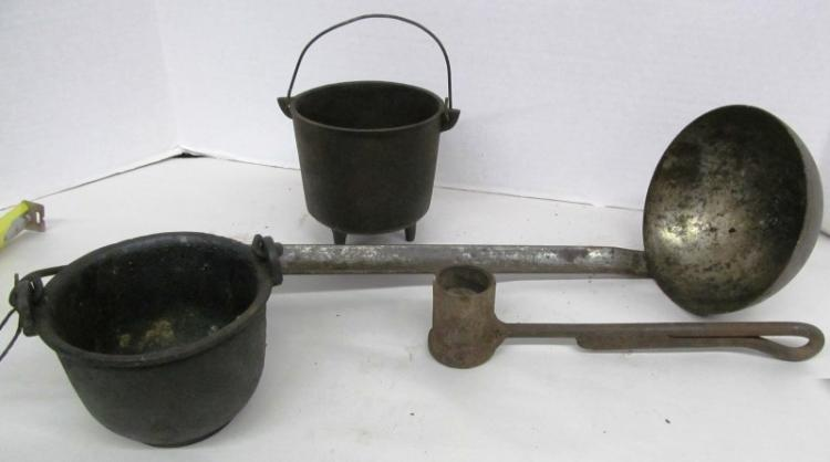T-4 ~ LOT OF 4 ANTIQUE LADLES / POT