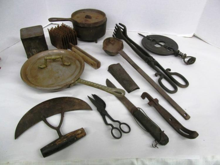 T-5 ~ LOT OF 12 ANTIQUE KITCHEN / OTHER TOOLS ~ PASTRY BLADE ~ NUTMEG GRINDER ~ MEAT TENDERIZER ~ COPPER SKILLET ~ STOVE BURNER COVER ~ ETC