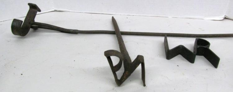 T-12 LOT OF 3 ANTIQUE BRANDING IRONS / END