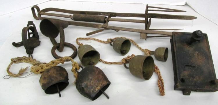 T-16 ~ MISC. ANTIQUE LOT ~ BELLS ~ GOPHER TRAP ~ OTHER