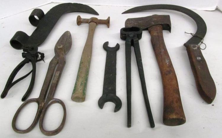 T-17 LOT OF 8 ANTIQUE TOOLS / OTHER