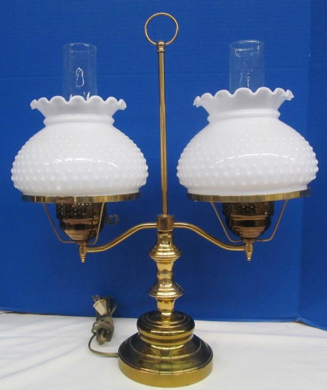 64 Vintage Double Milk Glass Globe Desk Lamp