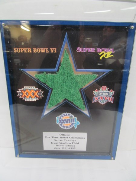 VINTAGE PIECE OF TURF W/COA ~ OFFICIAL FIVE TIME WORLD CHAMPIONS DALLAS COWBOYS TEXAS STADIUM FIELD LIMITED EDITION circa 1981-1995