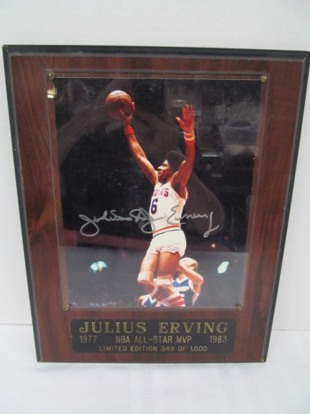 AUTOGRAPHED JULIUS ERVING 1977-1983 NBA ALL-STAR MVP LIMITED EDITION 349 of 1,000 PLAQUE
