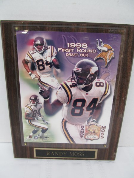 LIMITED EDITION 1998 RANDY MOSS FIRST ROUND DRAFT PICK PLAQUE ~ 820/5000