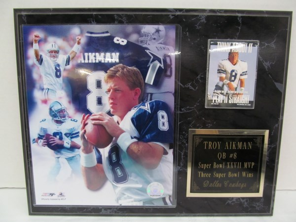 TROY AIKMAN QB #8 ~ SUPER BOWL XXVII MVP ~ THREE SUPER BOWL WINS ~ DALLAS COWBOYS PLAQUE