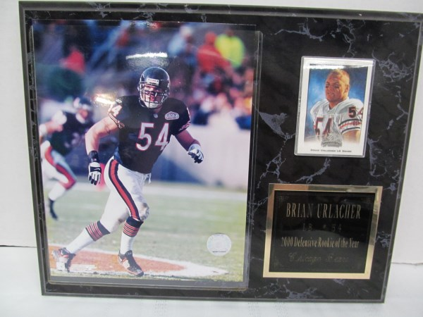 BRIAN LB #54 2000 DEFENSIVE ROOKIE OF THE YEAR ~ CHICAGO BEARS PLAQUE