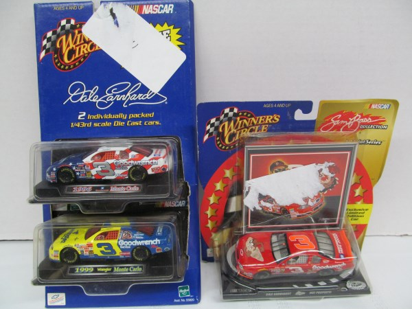 LOT OF 3 #3 DALE EARNHARDT WINNERS CIRCLE NASCAR 1/43rd SCALE DIE CAST CARS IN ORIGINAL PACKAGES