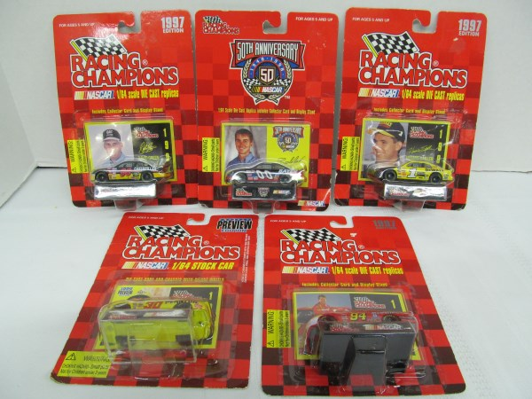 LOT OF 5 RACING CHAMPIONS NASCAR 1/64 SCALE DIE CAST CARS IN PACKAGES