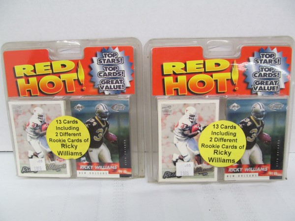 LOT OF 2 SETS OF RED HOT! TRADING CARDS ~ 13 CARDS EACH INCLUDING 2 DIFFERENT ROOKIE CARDS OF RICKY WILLIAMS