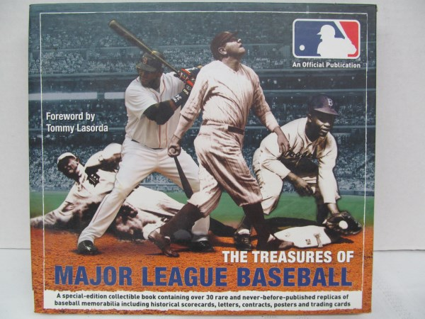 THE TREASURES OF MAJOR LEAGUE BASEBALL ~ A SPECIAL EDITION COLLECTIBLE BOOK CONTAINING OVER 20 RARE AND NEVER-BEFORE-PUBLISHED REPLICAS OF BASEBALL MEMORABILIA INCLUDING HISTORICAL SCORECARDS, LETTERS, CONTRACTS, POSTERS & TRADING CARDS