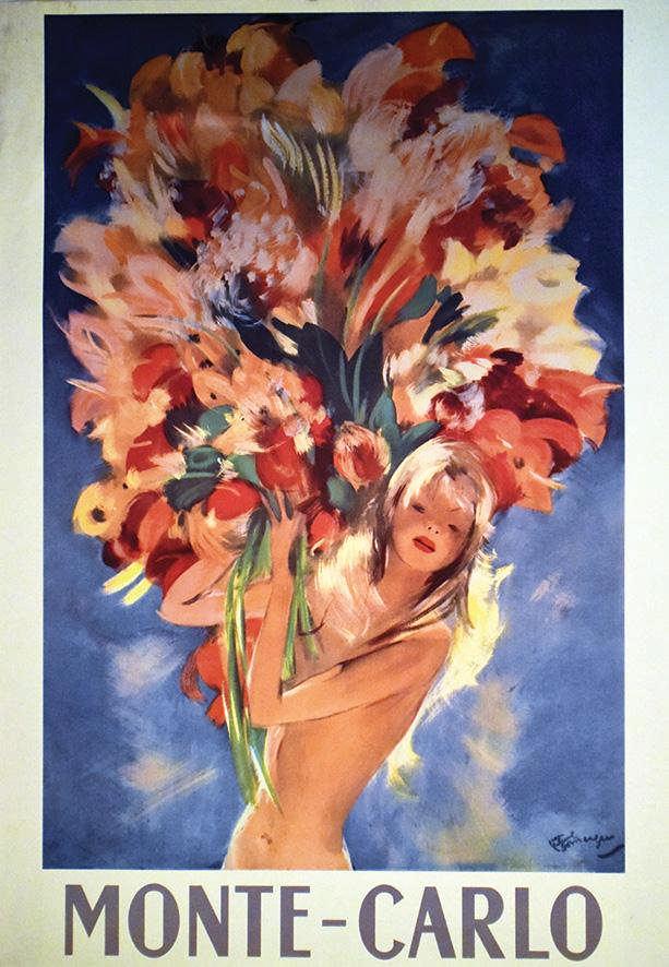 Domergue Jean Gabriel Monte Carlo Bouquet De Fleurs Affiche