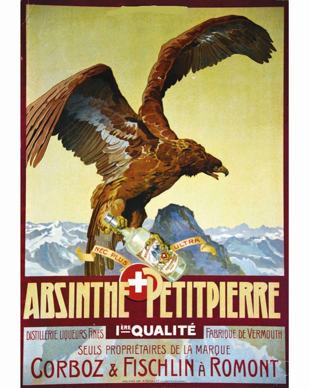 Absinthe Petitpierre Suisse Corboz & Fischlin à Romont Suisse     vers 1900