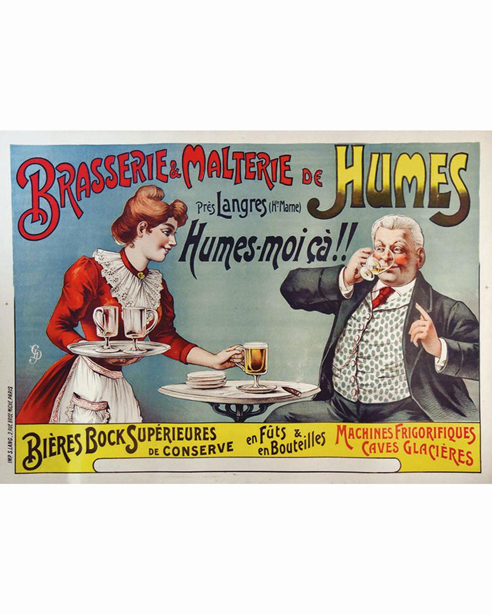 G. D. - Brasserie & Malterie de Humes - Bières Bock     vers 1900  Langres (Haute-Marne)