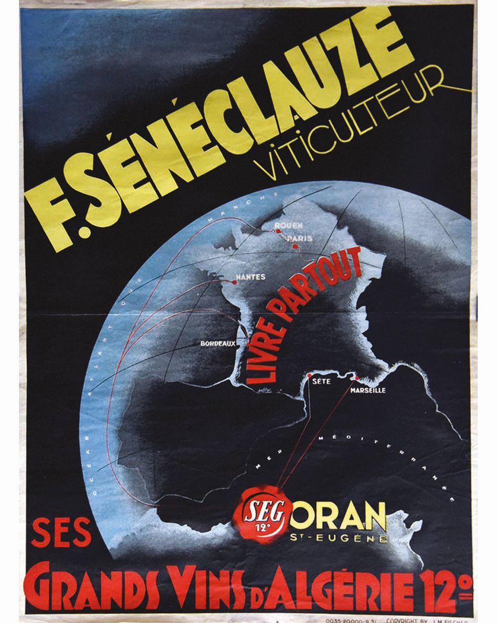 Ses Grands Vins D'Algérie F. SénéclauzeOran Saint Eugène     1931