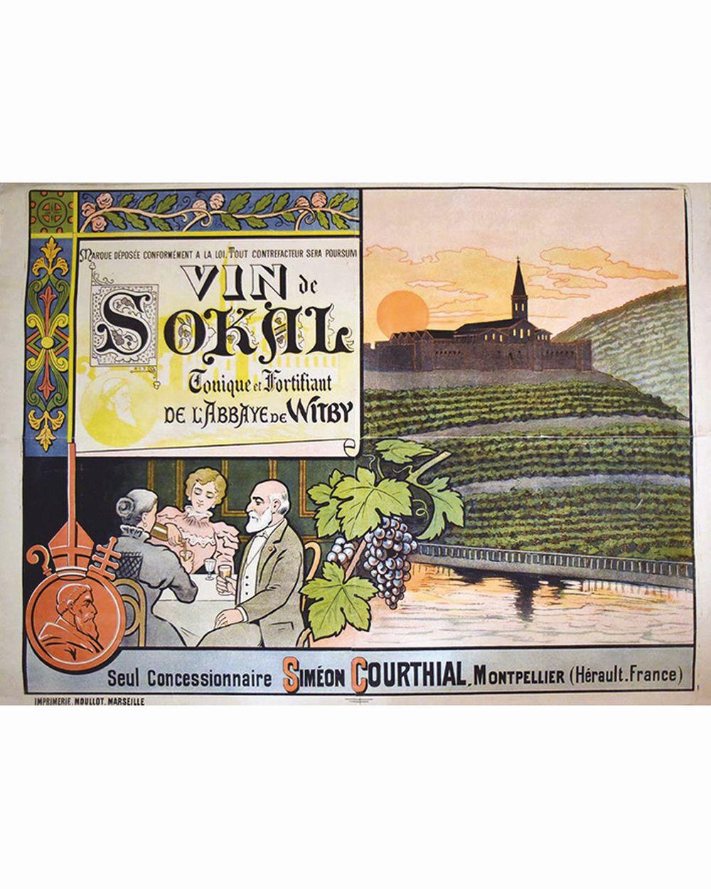 Witby - Vin de SoKal- Tonique & Fortifiant de l'Abbaye de Witby - Simeon Courthial Concessionaire     vers 1900  Montpellier (Hérault)